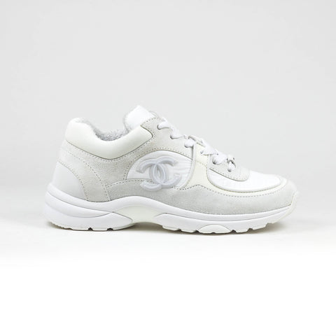 Chanel CC Logo Triple White Reflective Sneaker