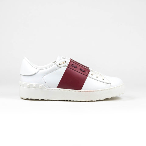 Valentino White Burgundy Open Band Sneaker