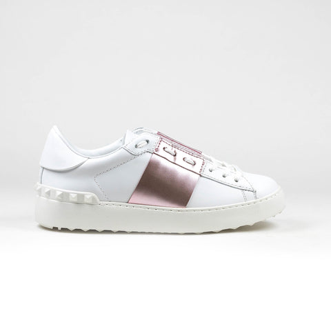 Valentino White Pink Metallic Open Band Sneaker