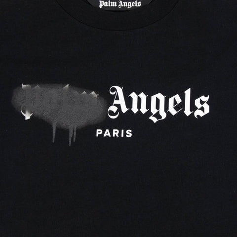 Palm Angels Paris Sprayed Logo Black White T Shirt