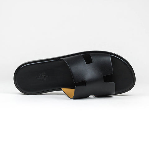 Hermes Paris Izmir Black Leather Sandal