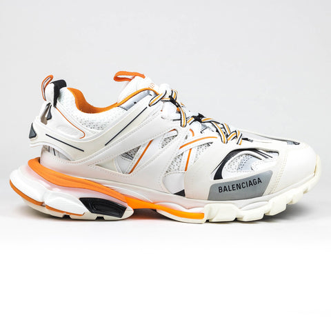 Balenciaga Track Leather And Mesh Sneaker Off White Orange