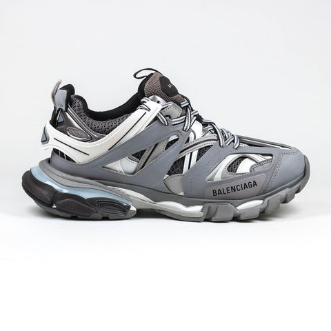 Balenciaga Track Leather And Mesh Sneaker Grey & White