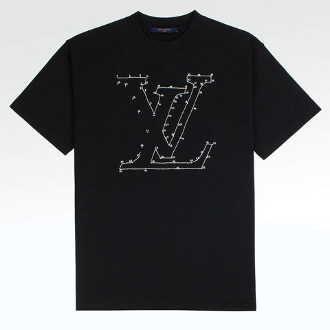 Louis Vuitton LV Stitch Embroidered Black T Shirt