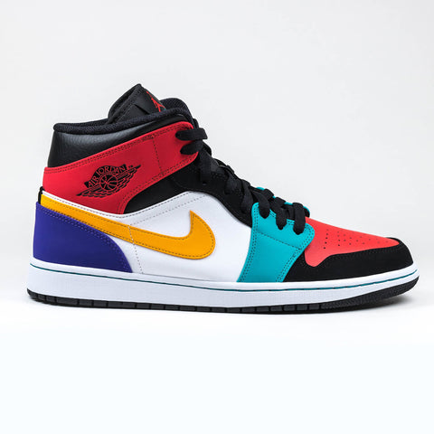 Nike Air Jordan 1 Mid Bred Multi Colour Sneaker