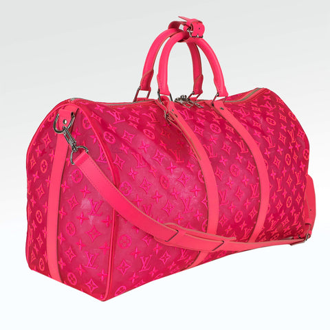 Louis Vuitton Mesh Pink Keepall 50
