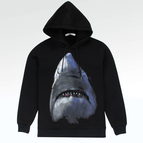 Givenchy Paris Shark Neoprene Hoodie Black