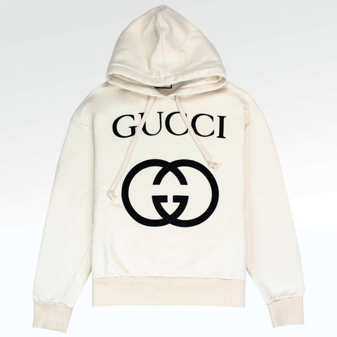 Gucci GG Interlocking Logo Hoodie Cream