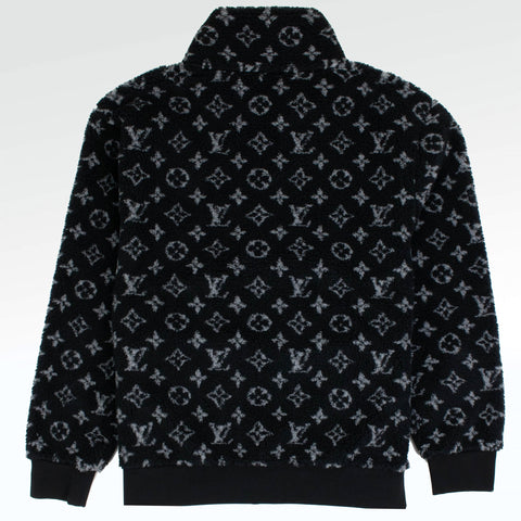 Louis Vuitton Monogram Jacquard Black Fleece Zip Through Jacket