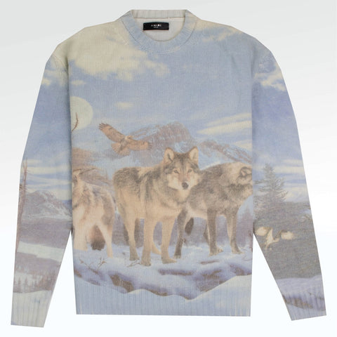 Amiri Wolf Pattern Multi Sky Blue Sweater