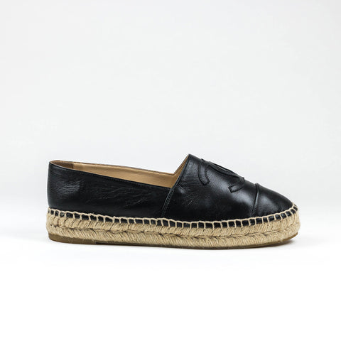 Chanel Black Leather Espadrille