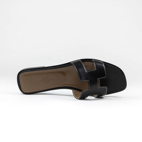 Hermes Paris Oran Black Tan Sandal