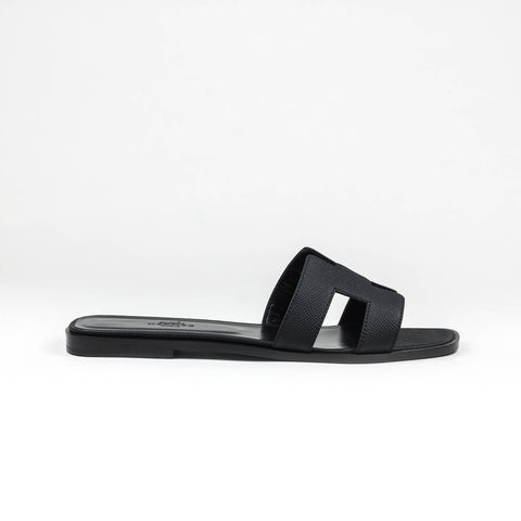Hermes Paris Oran Black Sandal