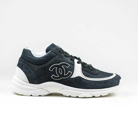 Chanel CC Logo Suede Nylon Reflective Charcoal Grey White Sneaker