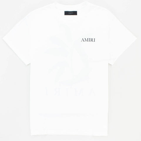 Amiri Logo Printed Palm White T Shirt