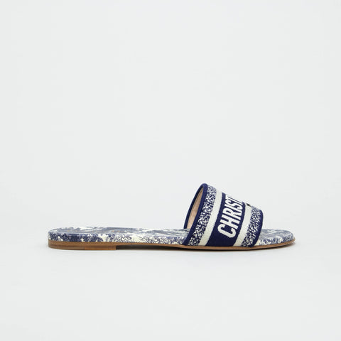 Dior D Way Blue Embroidery Cotton Slides