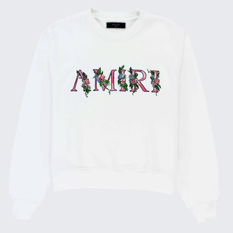 Amiri Floral Embroidered Logo White Sweatshirt