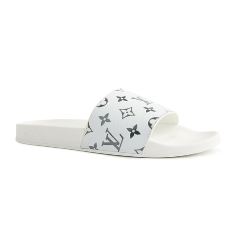 Louis Vuitton Waterfront Mule White Black Monogram Slides