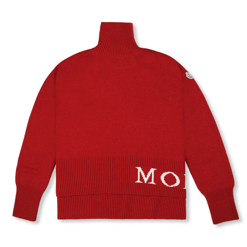 Moncler Logo Intarsia Roll Neck Red Jumper
