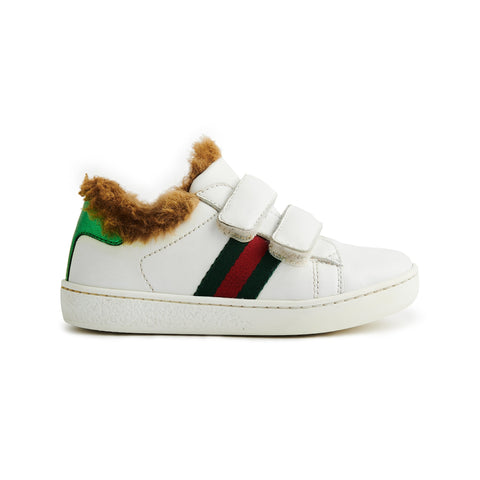 Gucci Kids Ace Web Sneaker White Red Green With Faux Fur