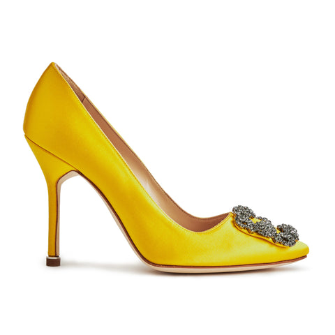 Manolo Blahnik Hangisi Yellow Satin Jewel Buckle Heels