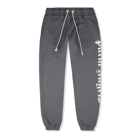 Palm Angels Side Logo Dark Grey Cotton Sweatpants