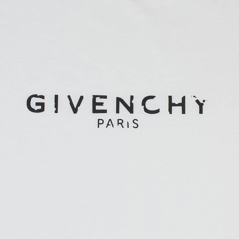 Givenchy Paris Broken Logo Slim Fit White T Shirt
