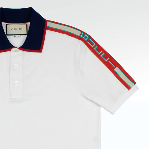 Gucci Logo Ribbon Polo Shirt White