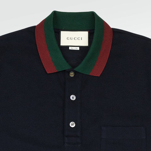 Gucci Web Collar Polo Shirt Navy