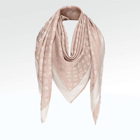 Louis Vuitton Monogram Denim Pink Shawl/Scarf/Bandana