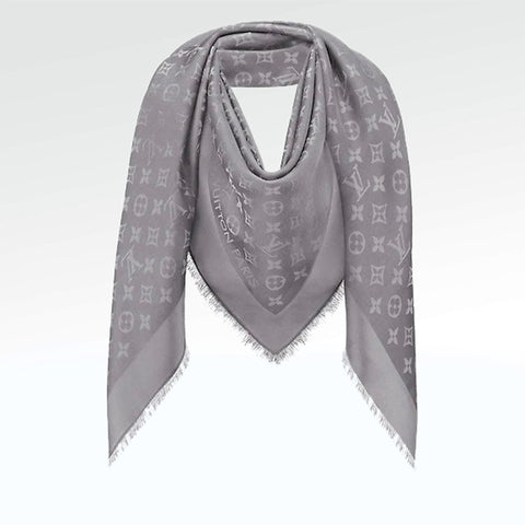 Louis Vuitton Monogram Charcoal Grey Shine Shawl/Scarf/Bandana
