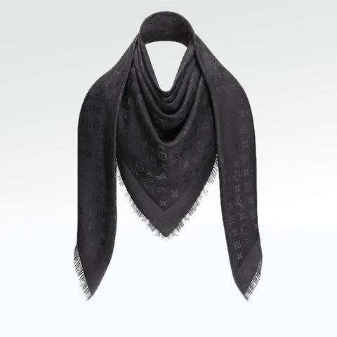 Louis Vuitton Monogram Charcoal Grey Shawl/Scarf/Bandana