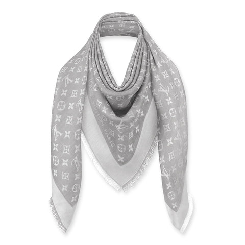 Louis Vuitton Monogram Denim Pearl Grey Shawl/Scarf/Bandana