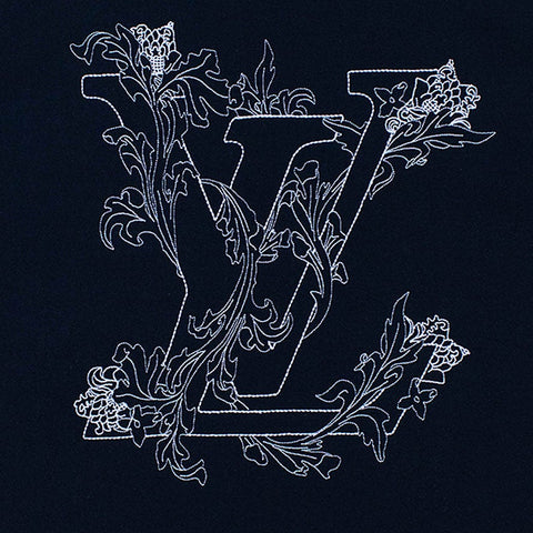 Louis Vuitton LV Embroidered Flower Navy T Shirt