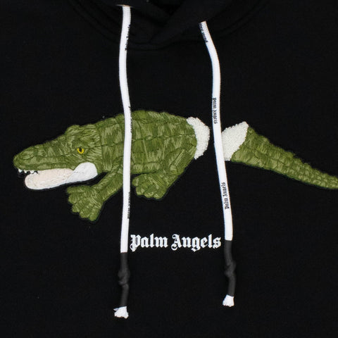 Palm Angels Croco Embroidered Black Hoodie