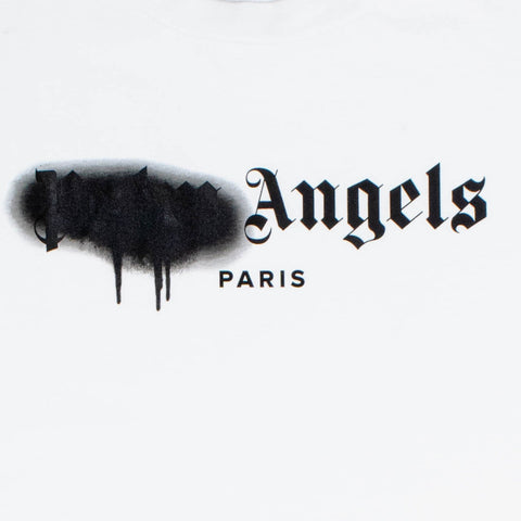 Palm Angels Paris Sprayed Logo White Black T Shirt