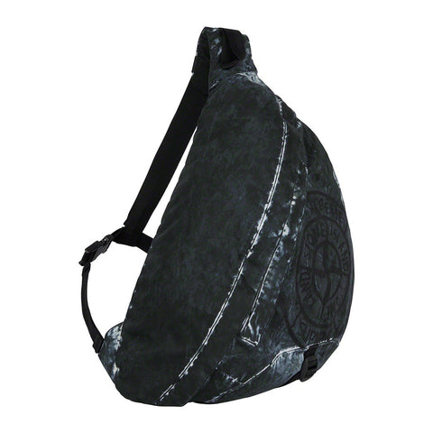 Supreme x Stone Island Painted Camo Nylon Black Shoulder Bag