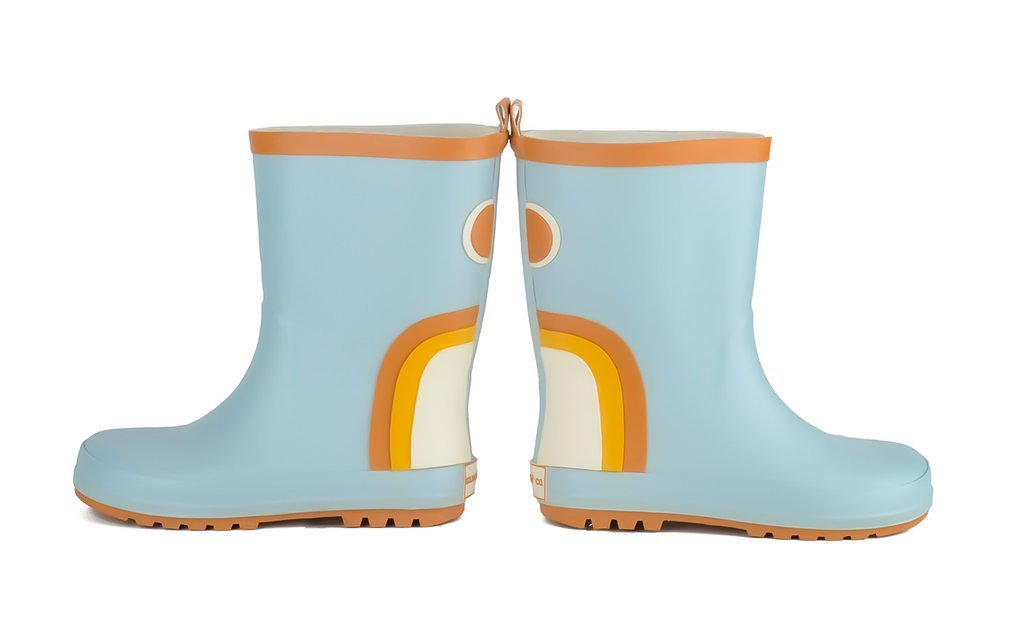Rainbow Rubber Boots - Light Blue