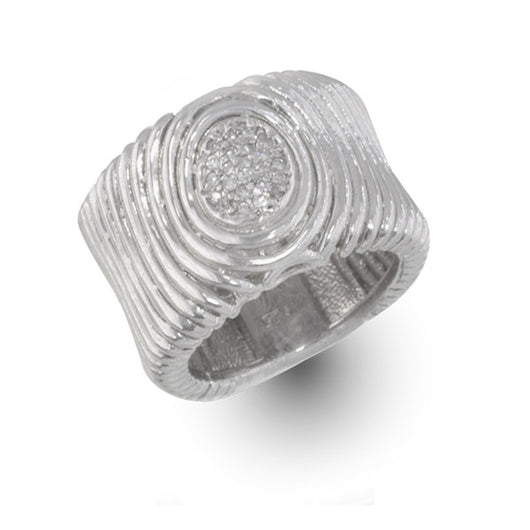 Wide Ripples Silver Ring with Diamonds