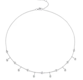 14k White Gold DIA Shaker Necklace