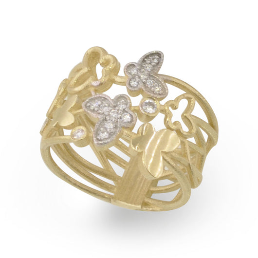 Gold Butterfly Diamond Ring