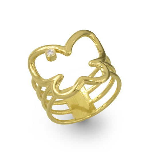 14K Yellow Gold Butterfly Outline Ring