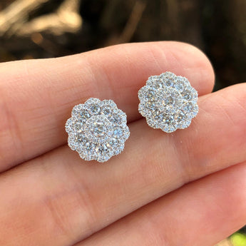 Lourdes Diamond Flower Cluster Earring