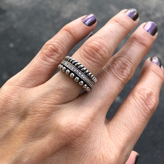 Silver Rope Ring with Zirconia