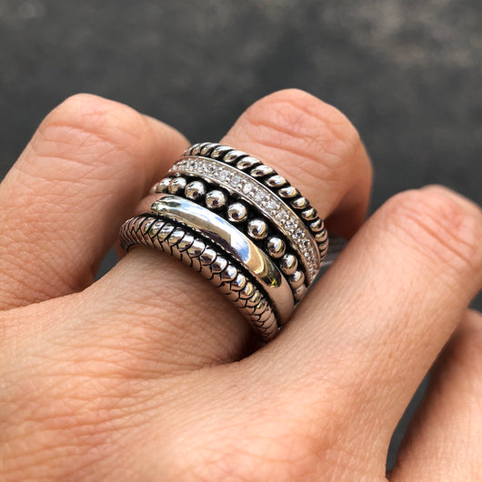 Wide Multi Silver Ring with Zirconia
