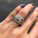 Silver Thin Multi Ring with Zirconia