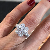Diamond Clover Hearts Ring