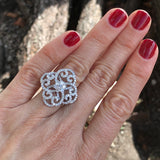 Diamond Crochet Lace Statement Ring