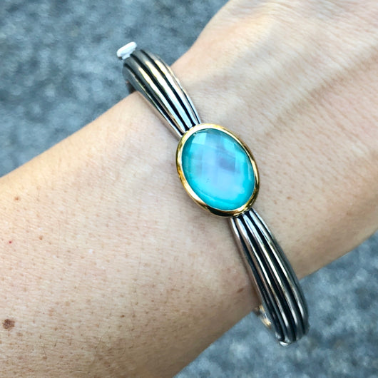 Silver Bangle with Chalcedony TS