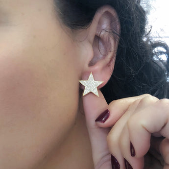 Yellow Gold Single Star Earrings